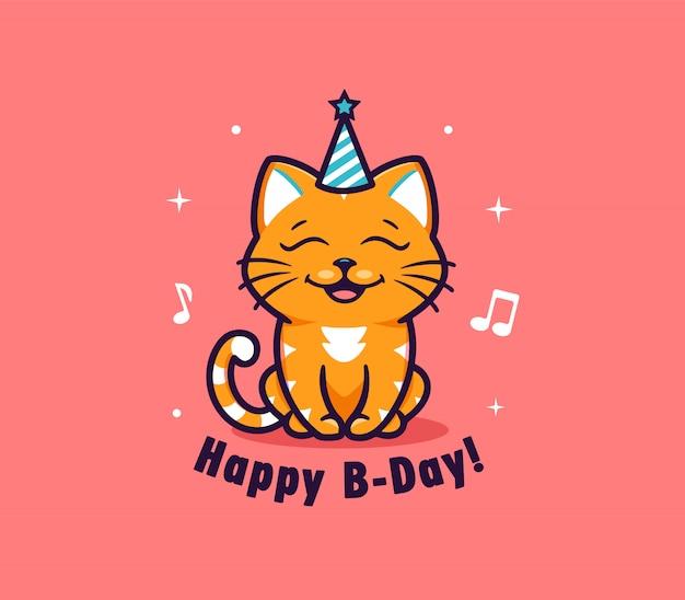 Логотип с днем рождения с животным. логотип с забавной кошкой и буквенной фразой.