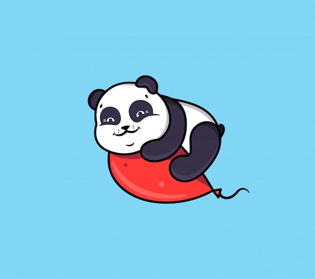 Логотип с днем рождения с пандой и воздушным шаром. логотип с забавным животным.