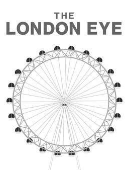 白い背景にロンドンの目のベクトル