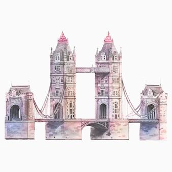 水彩で描いたロンドンタワーブリッジ
