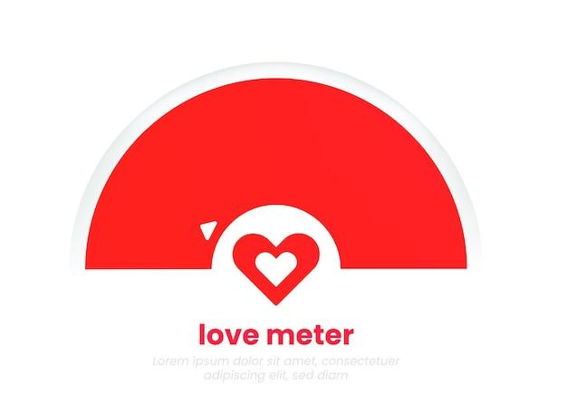 러브미터 차트. 마음으로 낭만적인 인포 그래픽입니다. 2월 14일 또는 발렌타인 데이를 위한 빨간색의 최소한의 템플릿 디자인.