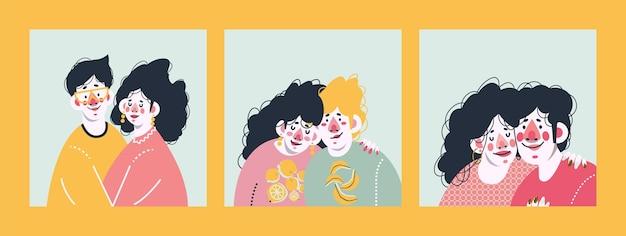 Влюбленная пара вместе. набор милых принтов.