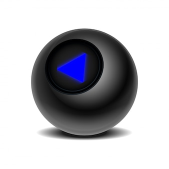 意思決定のための予測の魔法の玉。白い背景の上の現実的な黒8ボール。 eps 10