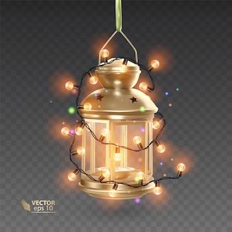 魔法、明るい花輪に囲まれた金色のランプ、透明な背景にリアルなランプ、イラスト