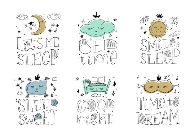 수면 시간에 대한 마술 그림. 레터링 문구와 낙서 아이콘. 달콤한 꿈에 대한 아이 밤 요소의 집합입니다.