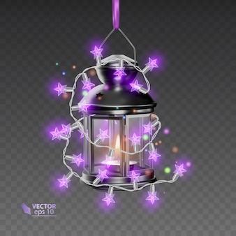 Волшебная лампа черного цвета, окруженная светящимися гирляндами, реалистичная лампа на прозрачном фоне, иллюстрация