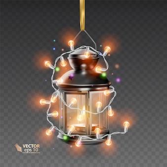 明るい花輪に囲まれた黒い色の魔法のランプ、透明な背景にリアルなランプ、イラスト