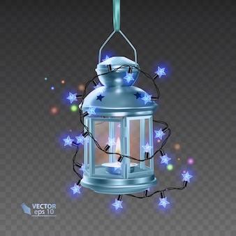 明るい花輪に囲まれた青い色の魔法のランプ、透明な背景にリアルなランプ、イラスト