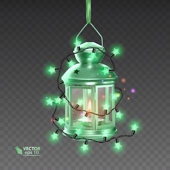 Волшебная лампа зеленого цвета, окруженная светящимися гирляндами, реалистичная лампа на прозрачном фоне, иллюстрация