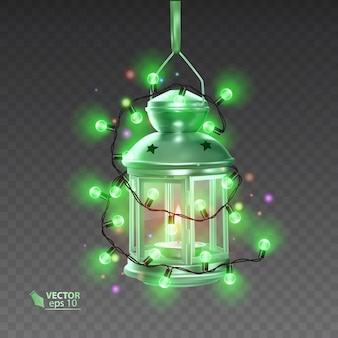 明るい花輪に囲まれた緑色の魔法のランプ、透明な背景にリアルなランプ、イラスト