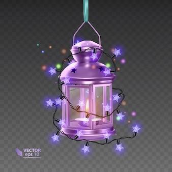 明るい花輪に囲まれた紫色の魔法のランプ、透明な背景にリアルなランプ、イラスト
