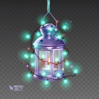 Волшебная лампа фиолетового цвета, окруженная светящимися гирляндами, реалистичная лампа на прозрачном фоне, иллюстрация