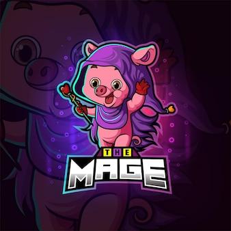 Волшебный маг свинья киберспорт дизайн логотипа иллюстрации