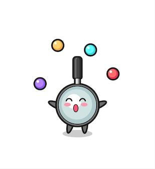 공을 저글링하는 돋보기 서커스 만화, 티셔츠, 스티커, 로고 요소를 위한 귀여운 스타일 디자인