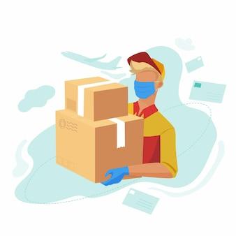郵便配達サービスはあなたの家にパッケージを持ってきました。医療用マスクと手袋を着用した郵便配達員