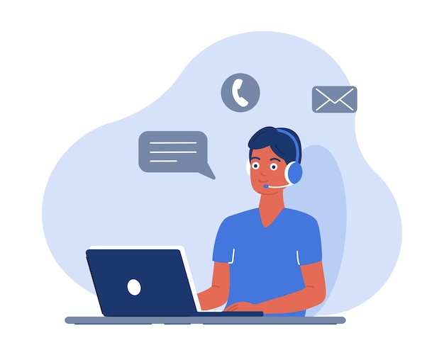 노트북으로 일하는 남성 관리자는 헤드셋을 통해 고객과 통신하고 엉망진창에 응답합니다