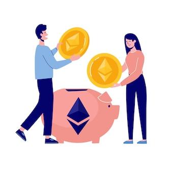 남자와 여자는 돼지 저금통에 ethereum 동전을 채 웁니다. cryptocurrency 축적 계획 vecto