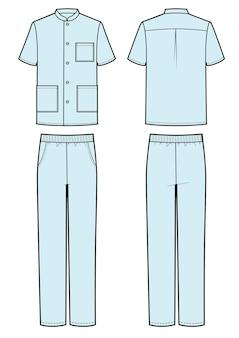Мужчина одет в медицинскую футболку и брюки.