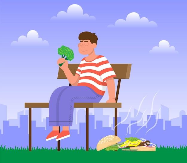 Мужчина на скамейке бросил бад-бургер и ест салат здоровый нездоровый образ жизни овощи vs фастфуд