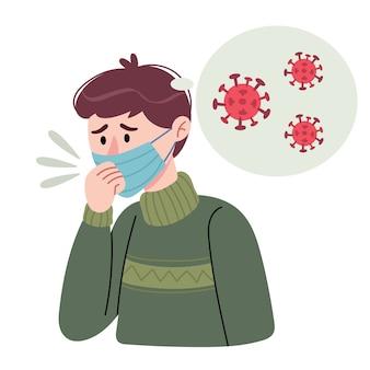 남자가 기침한다. 마스크를 쓴 남자는 자신이 코로나 바이러스에 걸렸다 고 생각하고, 바이러스 확산을 막는 개념.