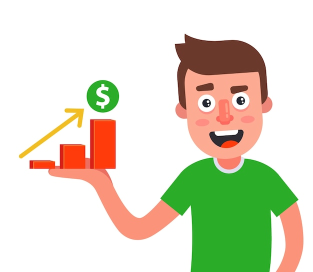 男性は手のひらに収入の伸びのグラフを持っています。