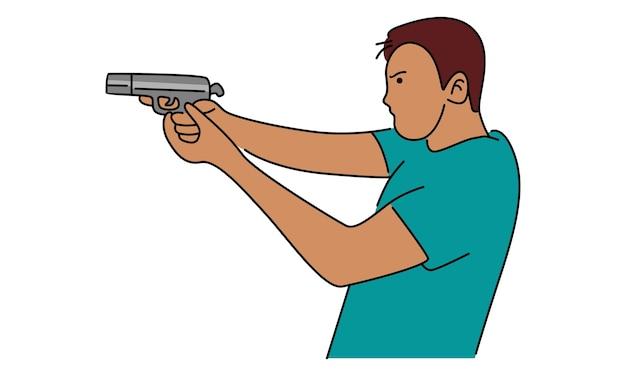 Мужчина держит в руке пистолет Premium векторы