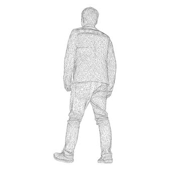 재킷을 입은 남자가 어딘가를 걷고 있습니다. 다른 측면에서 종. 흰색 배경에 검은색 삼각형 격자의 벡터 일러스트 레이 션