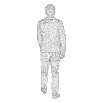 재킷을 입은 남자가 어딘가를 걷고 있습니다. 다른 측면에서 종. 흰색 바탕에 검은색 삼각형 격자의 벡터 일러스트 레이 션.