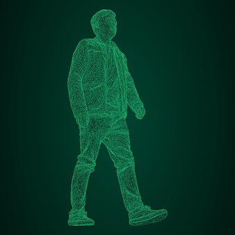 재킷을 입은 남자가 어딘가를 걷고 있습니다. 다른 측면에서 종. 검정 및 녹색 배경에 녹색 네온 빛나는 삼각형 격자의 벡터 그림.