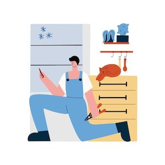 남자가 냉장고를 수리하고 있습니다. 가전제품 수리 서비스입니다. 평면에서 벡터 일러스트 레이 션
