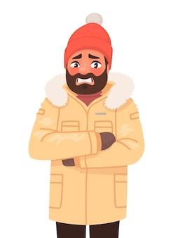 Мужчина замерз и дрожит. холодная погода. зима. в мультяшном стиле