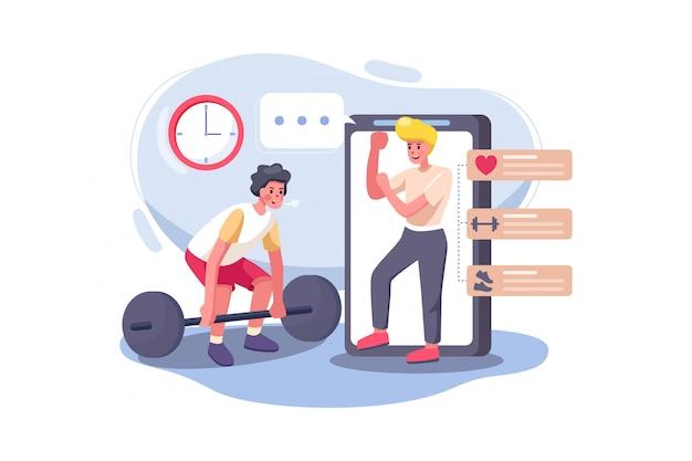 Мужчина учится поднимать тяжести с онлайн-учителем.
