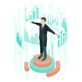 男はグラフの統計を見ます。等角投影図。事業分析の概念。ビジネスマンの周りの仮想インターフェイス。ベクトルイラスト。