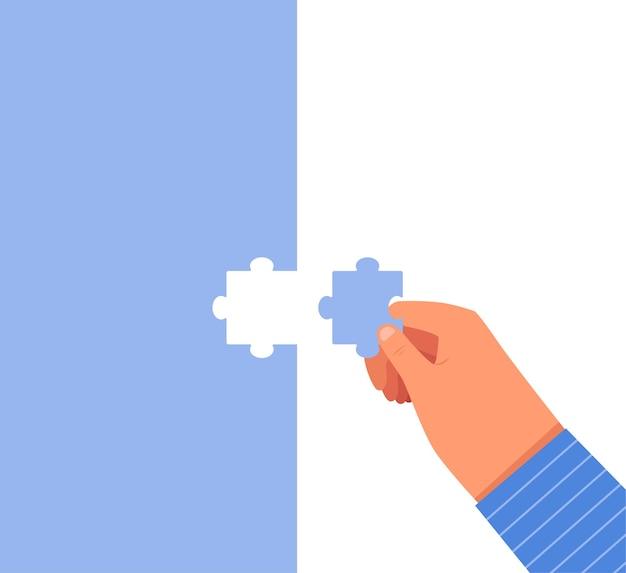 Мужчина вставляет последнюю деталь в головоломку. бизнес-концепция успеха и завершения бизнеса. мультяшная квартира. отдельный на белом фоне.