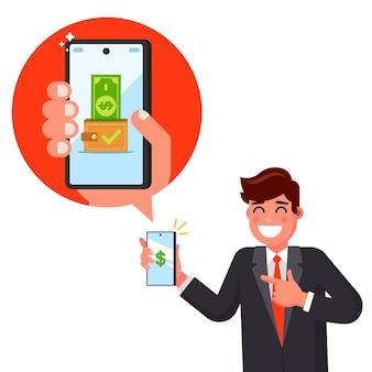 Мужчина получил сообщение о зарплате по телефону. получил деньги на счет. плоская иллюстрация персонажа