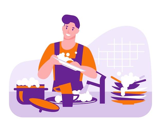 Мужчина моет посуду. векторный концепт домашнего хозяйства. иллюстрация в плоском мультяшном стиле.