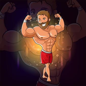 運動少年を持つ男は、イラストのeスポーツロゴデザインのための筋肉を示しています
