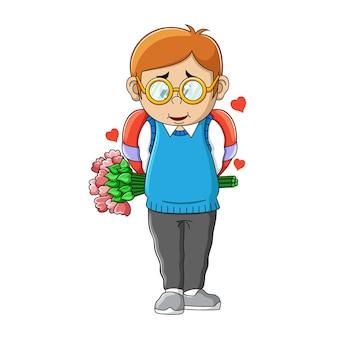 Мужчина в очках держит ведро с цветами и большой шоколад с иллюстрацией