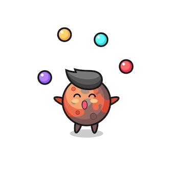 공을 저글링하는 화성 서커스 만화, 티셔츠, 스티커, 로고 요소를 위한 귀여운 스타일 디자인