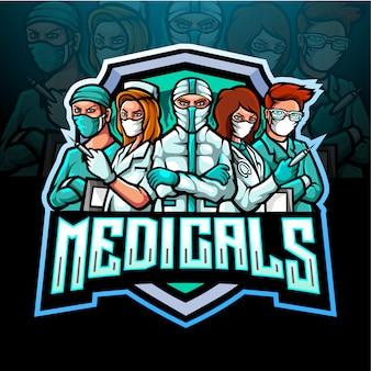 의료 마스크가있는 의료 팀의 마스코트 esport 로고