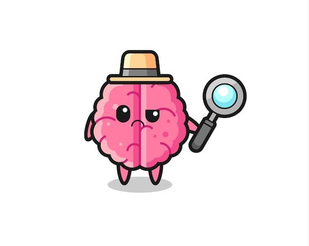 Талисман милого мозга как детектив, милый стиль дизайна для футболки, наклейки, элемента логотипа