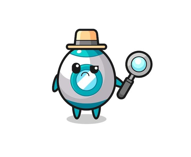 探偵としてのかわいいロケットのマスコット、tシャツ、ステッカー、ロゴ要素のかわいいスタイルのデザイン