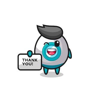 감사합니다라는 배너를 들고 있는 로켓의 마스코트, 티셔츠, 스티커, 로고 요소를 위한 귀여운 스타일 디자인