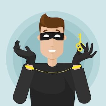 Вор в маске арестован. у вора наручники, цепи на руках, но у вора есть ключ к свободе. вор снимает наручники с помощью ключа