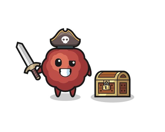 Персонаж пирата с фрикадельками держит меч рядом с сундучком с сокровищами, симпатичный дизайн футболки, стикер, элемент логотипа
