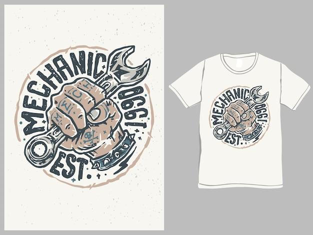 Дизайн рубашки в винтажном стиле the mechanic soldier