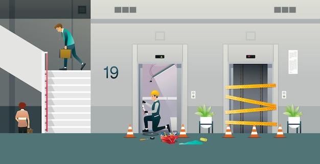 정비사는 엘리베이터를 수리하고 있었고 직원은 계단을 오르락 내리락해야했습니다.