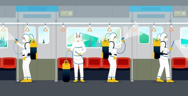 의료진은 전기 열차에서 바이러스와 박테리아를 죽이기 위해 살포하고 있습니다