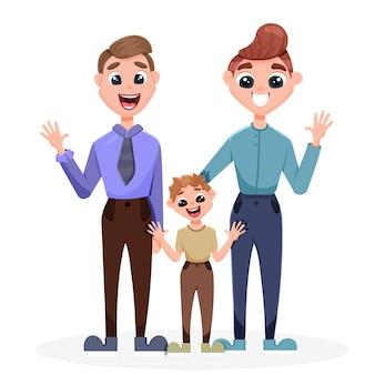 息子を抱きしめる男たち。同性カップルによる子供の養子縁組の概念。
