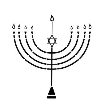 Менора со звездой давида - символ еврейского праздника огней хануки.